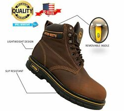 Menand039s Work Boots Round Toe Slip Resistant Genuine Leather Lace Up Safety Brown
