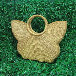 FREE EXPRESS POST Handwoven Straw Butterfly Shape Beach Tote Purse Bag  BH02X