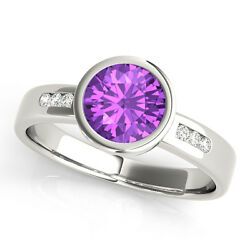 1.09 Carat Total Weight Petite Bezel Amethyst Gem Stone Diamond Engagement Ring