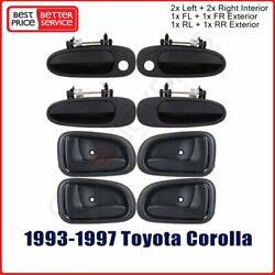 8pcs Outside Inside Front Rear Left Right For 93-97 Toyota Corolla Door Handles