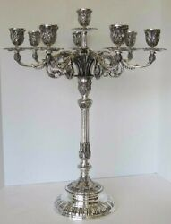 ITALIAN 925 STERLING SILVER HANDCRAFTED HEAVY ORNATE 8 LIGHT CANDELABRA AR-6169