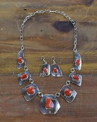 Jose Campos Sterling Silver And Coral Necklace And Earrings Set