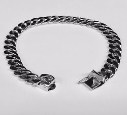 14k Solid White Gold Handmade Miami Cuban Curb Link Mens Bracelet 7 28 Grms 8mm