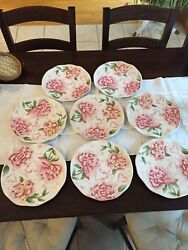 Maxcera Amour Pink Round Hand-painted Dinner Plates, Set Of 8