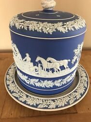 Antique Blue Wedgwood Hunting Party Cheese Dome