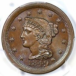 1849 N-2 Pcgs Ms 64 Bn Mds Braided Hair Large Cent Coin 1c