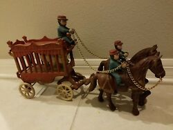 Antique Vintage Cast Iron Toy Overland Circus Wagon 2 Horses, 3 Riders And 1 Bear
