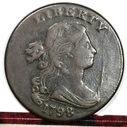 1798 S-177 R5- Small 8, 2nd Hair Style Draped Bust Large Cent Coin 1c