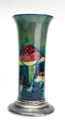 Rare - Early Moorcroft Claremont Toadstool Vase On Silver Plated Base Signed.