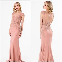 Terani Couture 1522e0469 Cap Sleeve Blush Gown With Illosion Back 798 All Size
