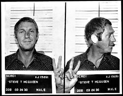 Steve Mcqueen Police Mug Shot Stretched Art Canvas Movie Poster Film Print Icon