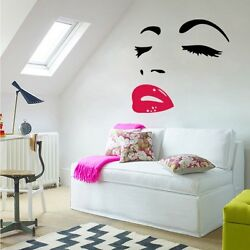 Woman Face Wall Art Stickers For Bedroom Home Decor Decal Removable Mural DIY