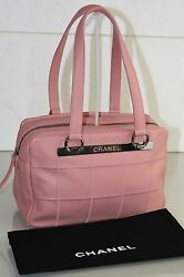 New Classic Quilted Pink Caviar Leather Purse Tote Shopper Camera Bag