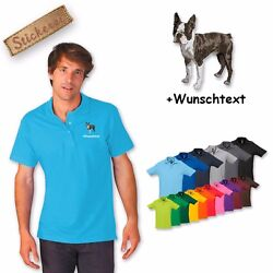 Polo Shirt Cotton Embroidered Embroidery Dog Boston Terrier + Desired text