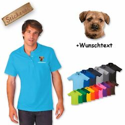 Polo Shirt Cotton Embroidered Embroidery Dog Border Terrier + Desired Text