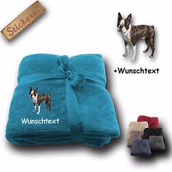 Fleecy Cuddle Blanket Blanket Boston Terrier + Custom Text Embroidery