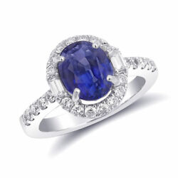 Natural Blue Sapphire 3.71 carats set in 14K White Gold Ring