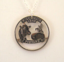 Wisconsin Cut Out Coin Jewelry, Necklace