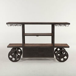 66 L Bar Cart Table Industrial Design Iron Frame Solid Wood Top 4 Drawer Unique