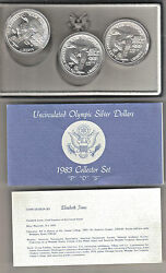 1983-pds Olympic Bu 90 Silver 1 3 Coin Collector Set Uncirculated With Coa