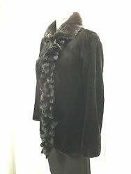Great Usa Black Sheared Mink Lady Fur Jacket Trim With Tussle Front Free Shipg