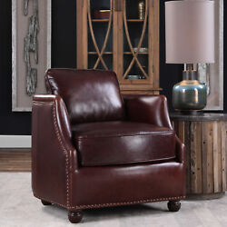 25 W Julia Accent Chair Top Grain Cherry Red Leather Hand Crafted Quality
