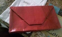 Beirn Red And Black Natural Snake Skin Envelope Clutch Retail At 1500
