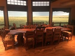 One of a Kind Hand Carved African Dining Room Table and 12 Chairs