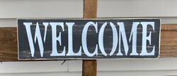 Welcome Farmhouse Wood Sign Front Door Entry Rustic Wood Sign Farm Sign Black