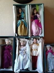 Disney Dolls, Collection Of 5 -extremely Rare New Condition And Retired W/coa