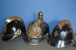 Rare Collection 3 19th Century Metal German / Swiss Fire Officer Helmets, C1860
