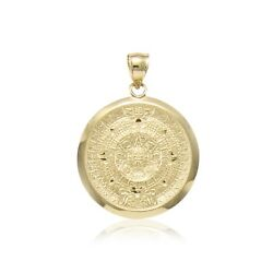 14k Solid Yellow Gold Aztec Calendar Pendant - Sun Round Medal Necklace Charm