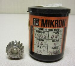 Itw Mikron Fine Pitch Gear Hob 31022 Pitch 24 P.a. 20 Degree Bore .3149