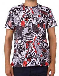 New Official Tokidoki Tkdk Stacked Menand039s Grey Tee T-shirt Cmte04189 Us Seller