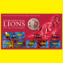 New Zealand -2017 -unc 1 Bu Coin The British And Irish Lions Stamp And Coin Pack