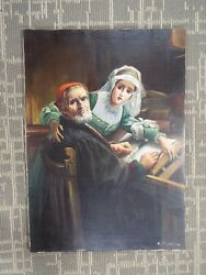19th Century Oil Painting On Canvas The Forbidden Book- The Bible - Martyrs