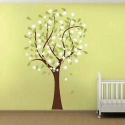 Happy Nursery Tree Wall Decal Wallpaper Floral Plant Life Removable Design b36