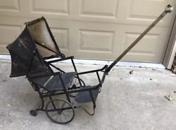Antique 1800's Baby/child Buggy Carriage Stroller Doll Pull Steam Punk Vtg