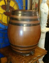 Large Antique Wine Whiskey Or Beer Cask Doulton Lambeth Ceramic