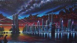 Zach Kintnernew Yorkthe Day Before 9/11 Original Painting Acrylic 48in X 27in