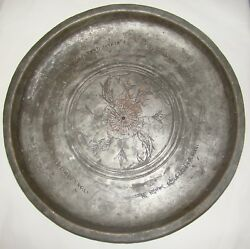 Jewish Judaica Antique Copper Plate Persian Middle East Hebrew Written Bible