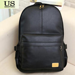 Fashion Men Women PU Leather Backpack Casual School Book Laptop Shoulder Bags $7.99