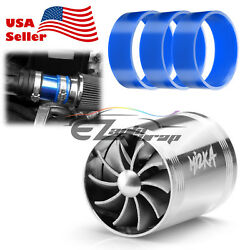 Mi2KA Turbine Air Intake Fuel Gas Saver Double Fan System Turbo 2.5quot; 3.0quot; Silver $12.88