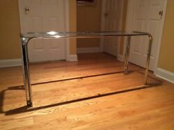 Vintage chrome and glass sofa console table mid century modern mcm 1970s tall ac