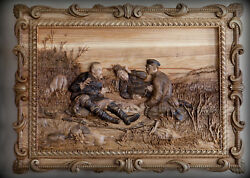 "Carved panels ""Hunters on a halt"" a picture of wood carving."
