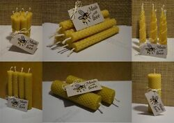 Bundle Of Hand Rolled Handmade Pure Beeswax Candles From Beeswax Sheets Gift