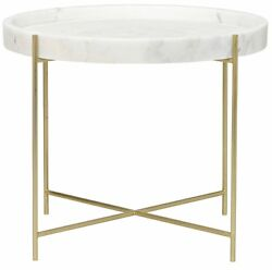 25 Set Of Two Side Table Night Stand Metal Stone Antique Brass Vintage 3192