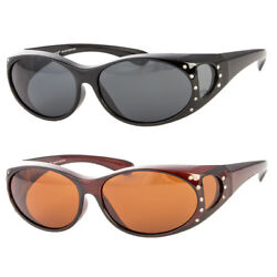 Polarized Rhinestone Cover Put Over Women Sunglasses Wear Rx Glass Fit Driving $8.79