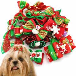 20100pcs Cat Puppy Pet Dog Christmas Hair Bows Grooming Accessory Yorkie In Box