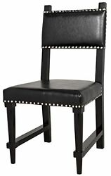 37 Set Of Two Dining Chair Birch Distressed Black Top Grain Leather Sleek 3975